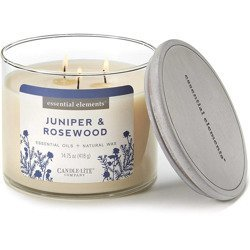 Candle-lite Essential Elements 3-Wick Natural Scented Candle Glass Jar 14.75 oz 418 g - Juniper & Rosewood