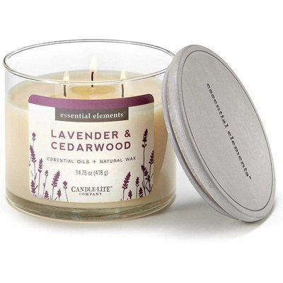Candle-lite Essential Elements 3-Wick Natural Scented Candle Glass Jar 14.75 oz 418 g - Lavender & Cedarwood