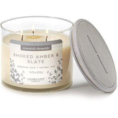 Candle-lite Essential Elements 3-Wick Natural Scented Candle Glass Jar 14.75 oz 418 g - Smoked Amber & Slate