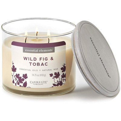 Candle-lite Essential Elements 3-Wick Natural Scented Candle Glass Jar 14.75 oz 418 g - Wild Fig & Tobac