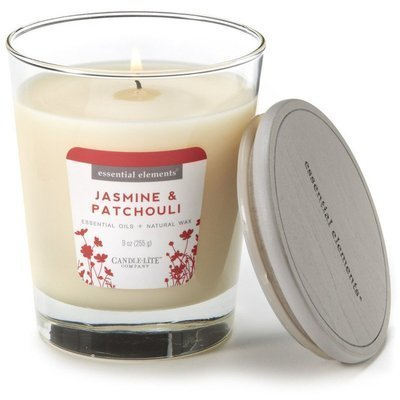 Candle-lite Essential Elements Glass Natural Scented Candle 9 oz 255 g - Jasmine & Patchouli