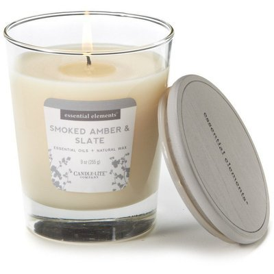 Candle-lite Essential Elements Glass Natural Scented Candle 9 oz 255 g - Smoked Amber & Slate