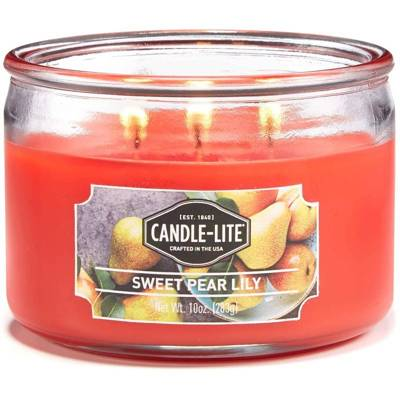 Candle-lite Everyday Collection 3 Wick Terrace Jar Glass Scented Candle 10 oz 283 g - Sweet Pear Lily
