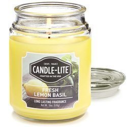 Candle-lite Everyday Collection Large Terrace Jar Glass Scented Candle 18 oz 145/100 mm 510 g ~ 110 h - Fresh Lemon Basil
