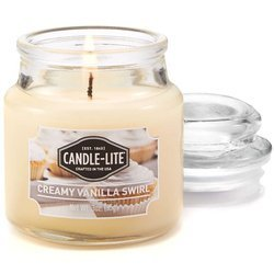 Candle-lite Everyday Collection Scented Small Jar Glass Candle With Lid 3 oz 95/60 mm - Creamy Vanilla Swirl