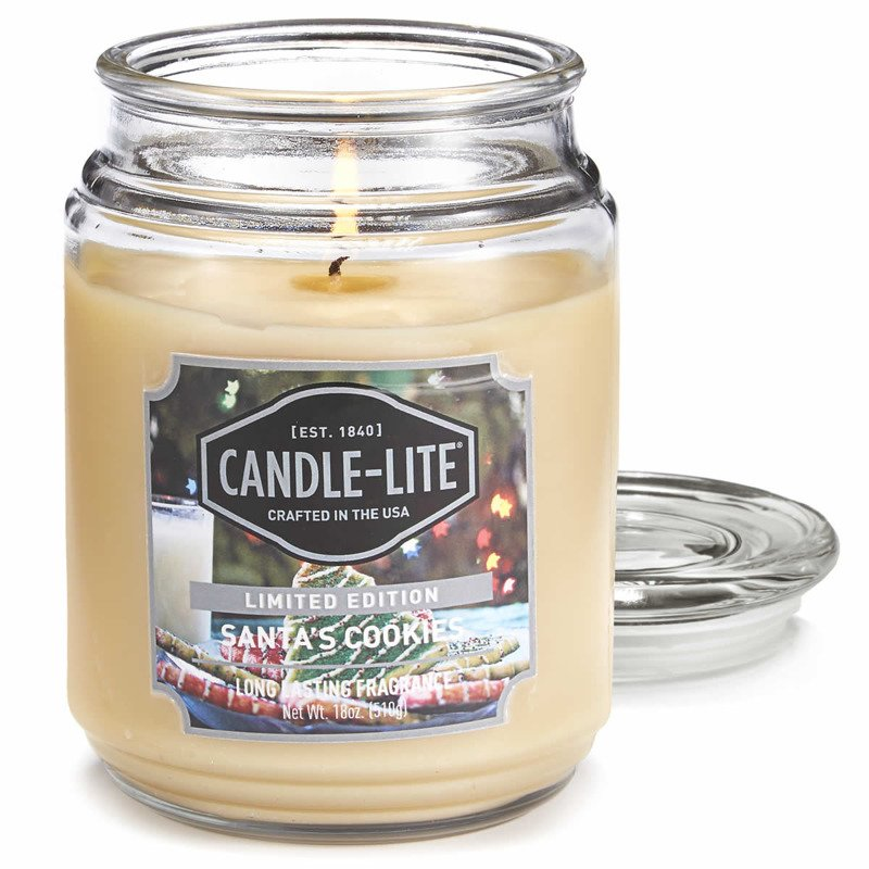 Candle Lite Everyday Collection Large Scented Jar Glass Candle 18 Oz 145 100 Mm 510 G 110 H Santa S Cookies Santa S Cookies Candle Lite Online Shop